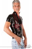 Vorschau: Herren Latex Shirt mit Stehkragen Viertelarm und Einstiegszipp vorne Das Streifenmuster dieses latex Shirts ist farblich abgesetzt. Die Kontrastfarbe für die …