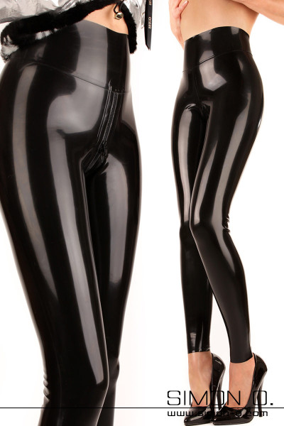 Shiny ladies latex leggings with high waistband in black with a zipper in the crotch area seen from the front