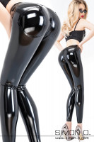 Vorschau: Blonde woman with a skin tight shiny black latex trousers special push up effect in the seat area