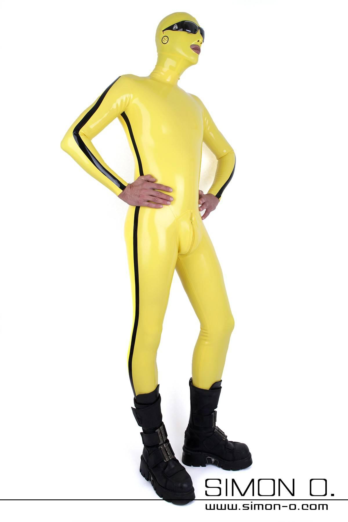 Gelber Latexanzug mit Maske für Herren mit Hanky Code schwarzer Streifen