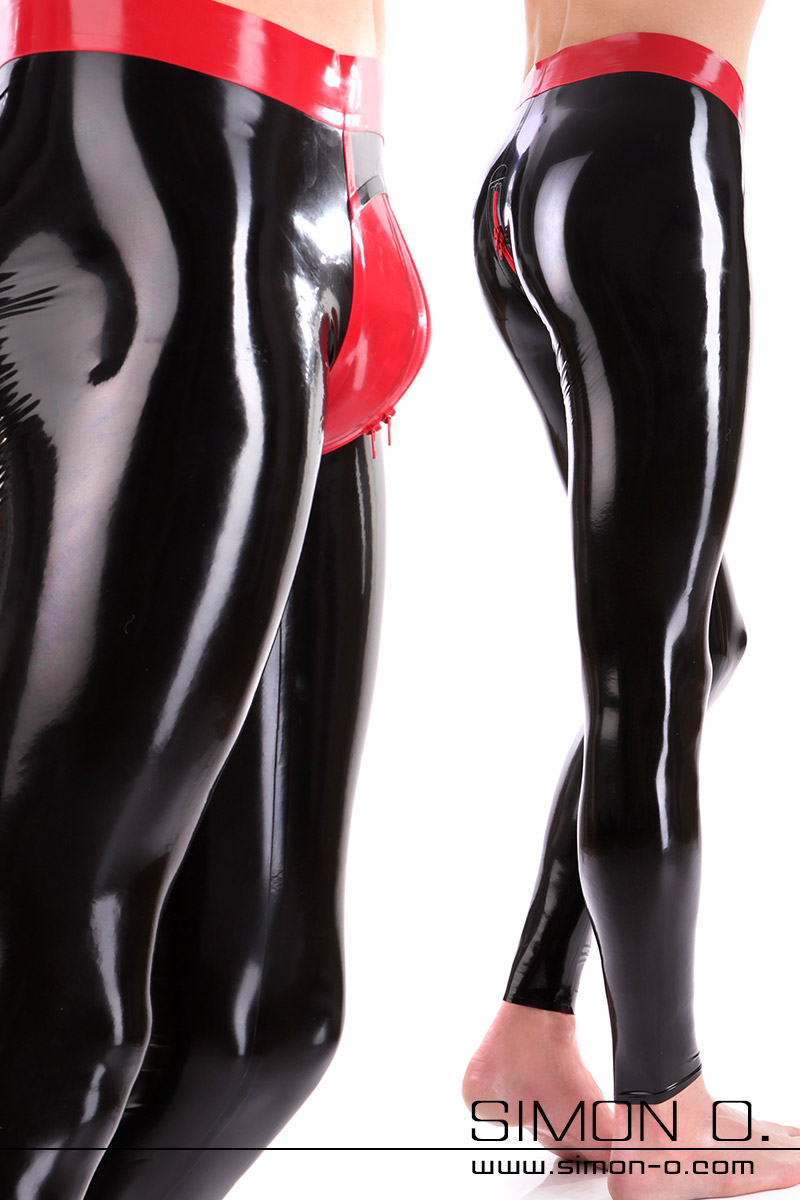 Genital Push Up Latex Leggings in Schwarz mit Rot kombiniert Detailfoto