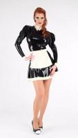 Vorschau: Latex Dienstmädchen Outfit mit Stehkragen und Latexschürze