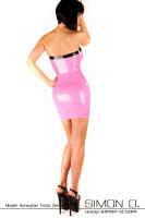 Preview: Tight shiny tube dress made of latex in pink with black