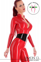 Preview: Skin tight red latex catsuit with zipper in the crotch and integrated black bodice