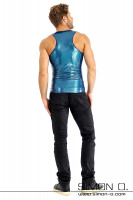 Preview: Sleeveless latex shirt in blue with round neckline seen from behind