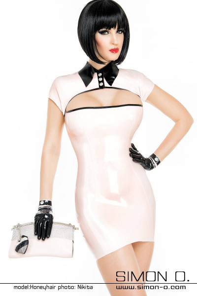 Elegant latex mini dress with cutout in rose pastel combined with black and Swarovski buttons