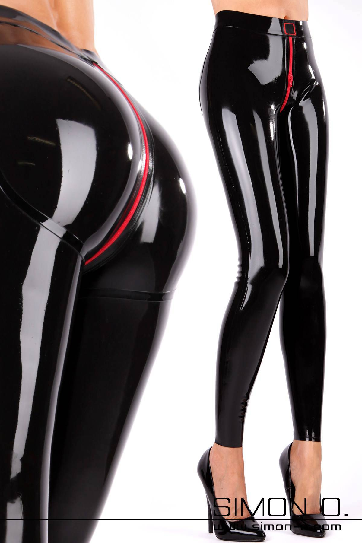 Schlanke Beine in glänzenden Latex Leggings mit schwarzen high Heels im Schritt ist eine roter Reißverschluss