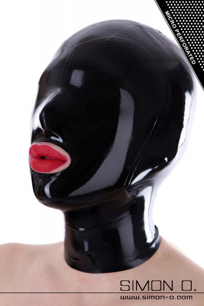 A woman wears a latex hood in black with small holes at the eyes