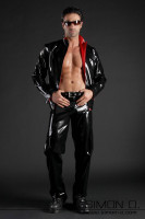Preview: A man is wearing a black latex jacket combined with red and a black latex jean