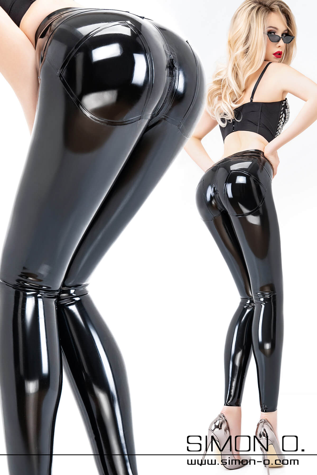 Blonde woman with a skin tight shiny black latex trousers special push up effect in the seat area