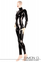 Preview: Shiny skintight latex suit with crotch zipper in black