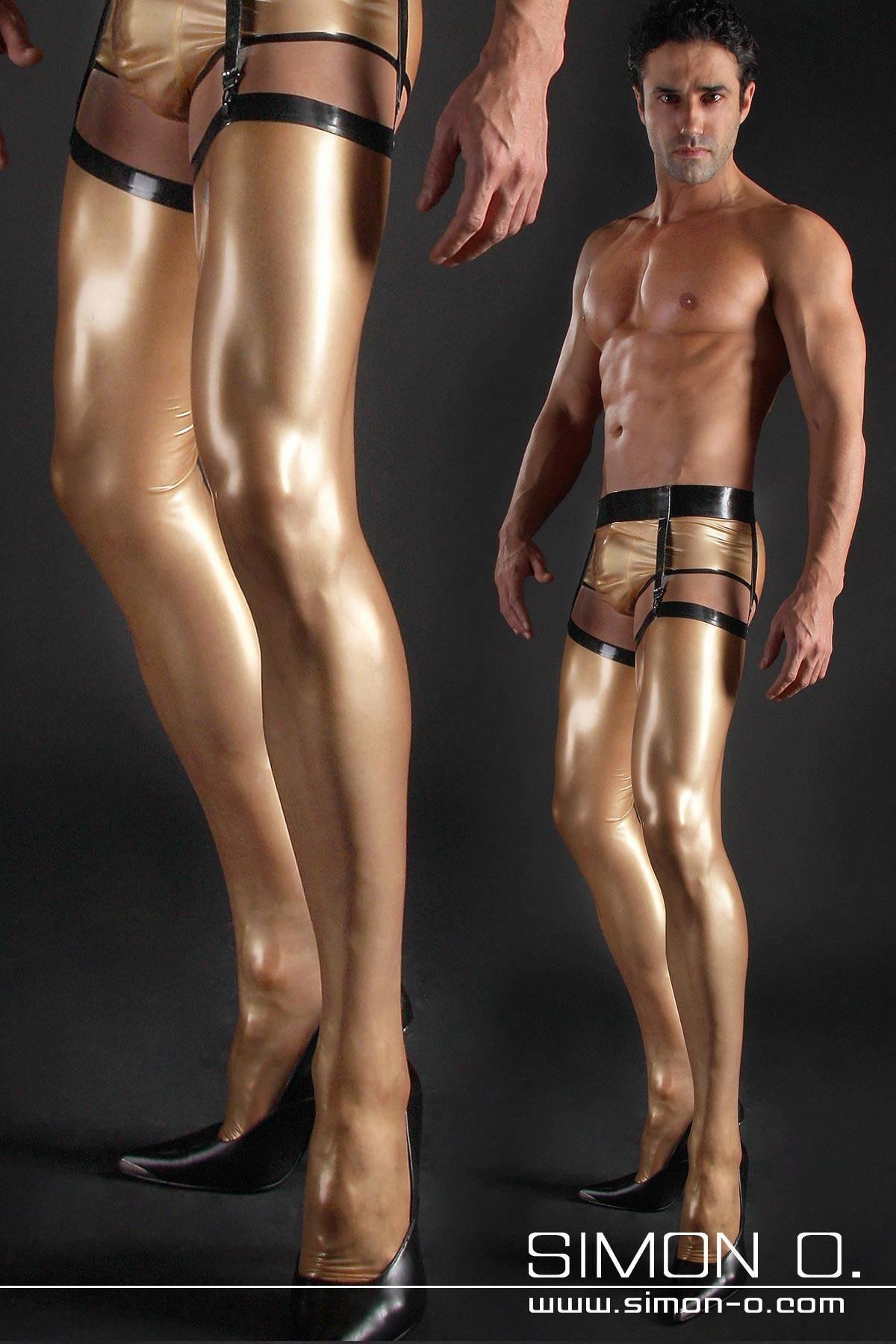 Latex Strümpfe für Herren Der Fußteil mit Spitze und Ferse anatomisch geklebt und verstärkt . Zum besseren Anziehen sowie für einen besseren Tragekomfort …
