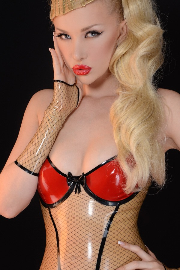 Transparent Latex Leotard with black fishnet pattern combined with Red