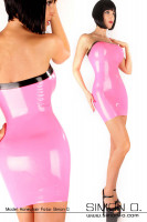Preview: Skintight tube dress made of latex in pink with black