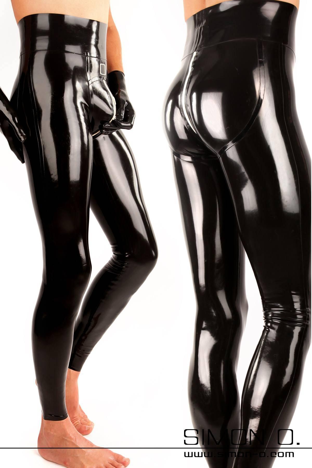 Herren Latex Leggings mit Push up Effekt - extra hoher Bund Herren Latex Leggings mit durchgehendem Zipp im Schritt und Push Up für Po und Genitalbereich. …