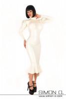 Vorschau: Langes Latex Kleid in weiß mit Godet und langen Puffärmeln