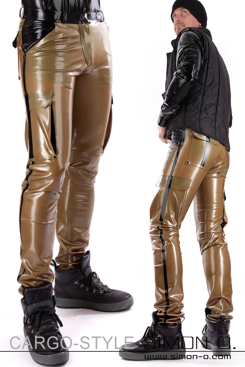Latex cargo pants for men with detailed workmanship These latex cargo pants for men feature 6 pockets which offer space for everything you need. They're a …