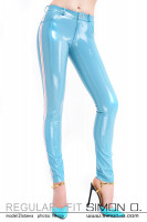 Preview: A skintight shiny latex jeans in light blue with stripes in white and pink on the side seen from the front