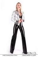 Vorschau: Schwarze Glanz Hose aus Latex mit Zipp im Schritt mit einer silbernen Jacke kombiniert