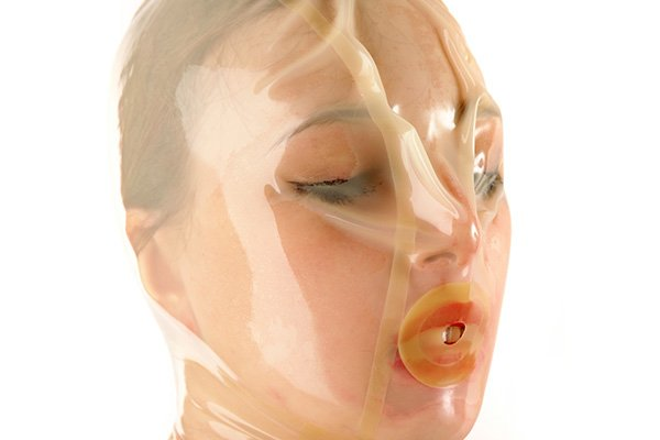 Latex Breath Play Hood in transparent latex
