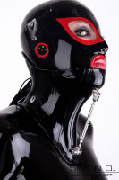 Preview: A women with a black latex hood wears a Latex Posture Collar with Adjustable Screw