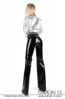 Vorschau: Schwarze Latex Hose mit weiten Beinen und Reißverschluss im Schritt von hinten gesehen