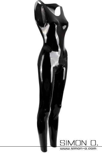 Sleeveless latex catsuit with neck entry crotch open in black