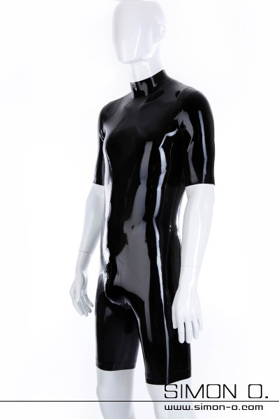 Latex Bodysuit in Black with Zipp in the crotch and short arms and legs