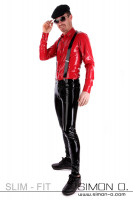 Preview: A gentleman wearing a tight Slim Fit Latex Jean in black with a red latex shirt and suspenders