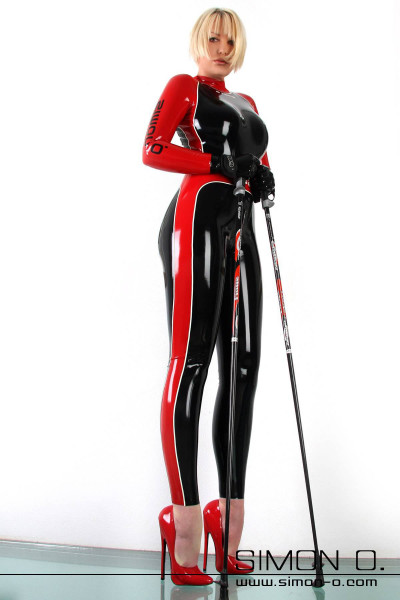 This figure fitting princess cut latex catsuit with long sleeves features a fantastic sporty design. Design your perfect colour combination for your custom …