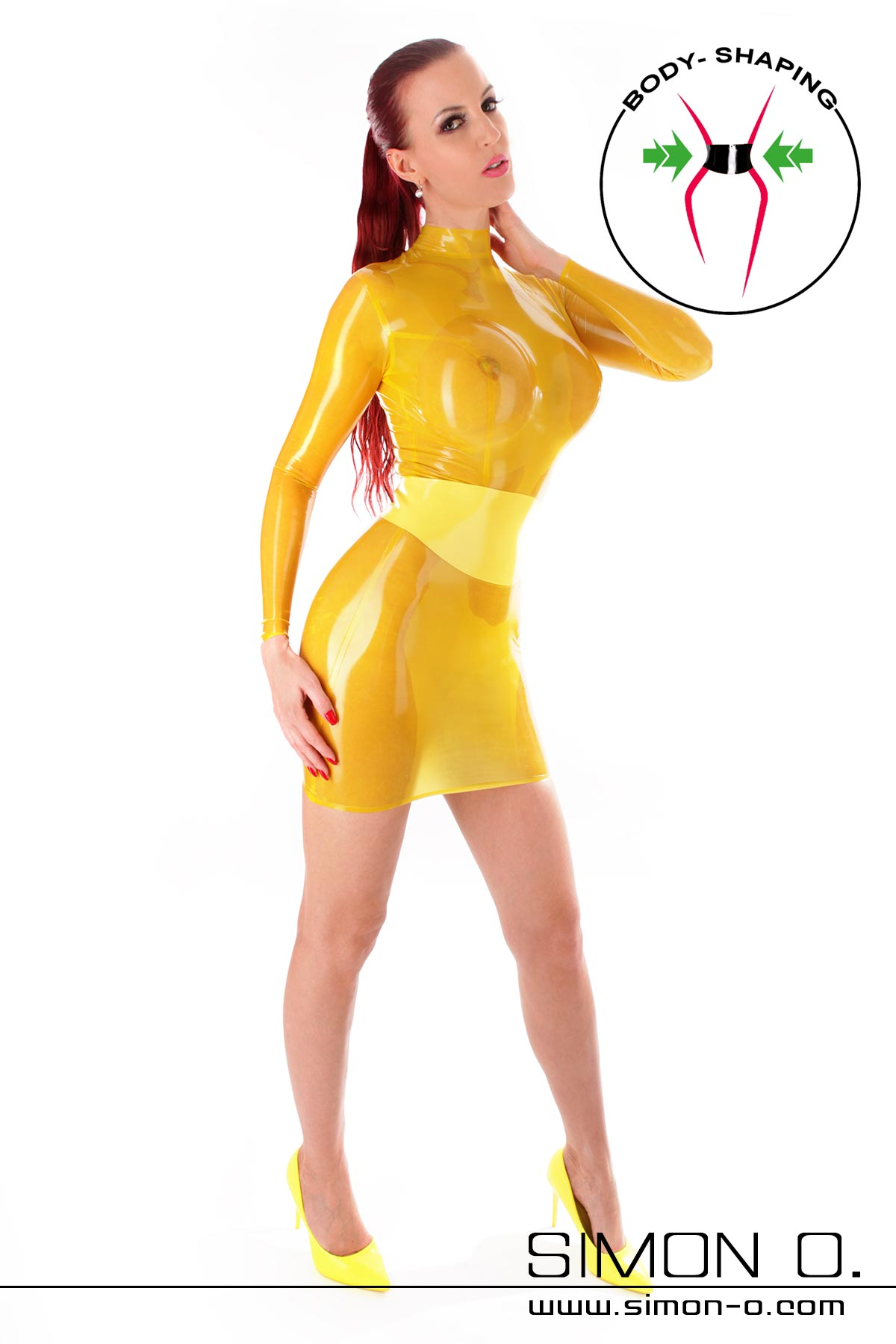 Long sleeve latex mini dress with integrated waist belt Sexy latex mini dress with skin tight fit. The integrated waist belt made of thick latex is made of …
