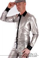 Vorschau: Latex Hemd für Herren mit Knopfleiste – viele Farbkombinationen Elegantes Latex Hemd für Herren mit Reverskragen und Knopfleiste. Der Schnitt ist locker …