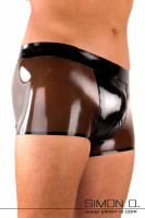 Vorschau: Glänzende enge Latex Shorts mit Ausbuchtung im Genitalbereich und Zipp im Schritt in der Farbe schwarz transparent mit Schwarz