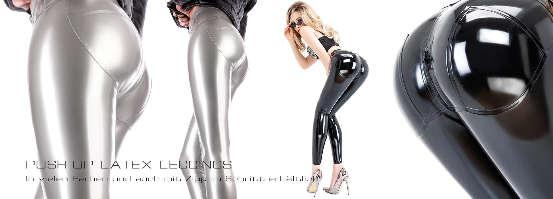 Enge Latex Leggings mit Push up Effekt in Silber und Schwarz