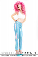 Preview: A latex jeans in light blue with stripes in white and pink on the side