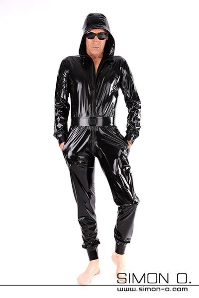 Black hooded Latex suit with pockets in black with pleasantly loose fit