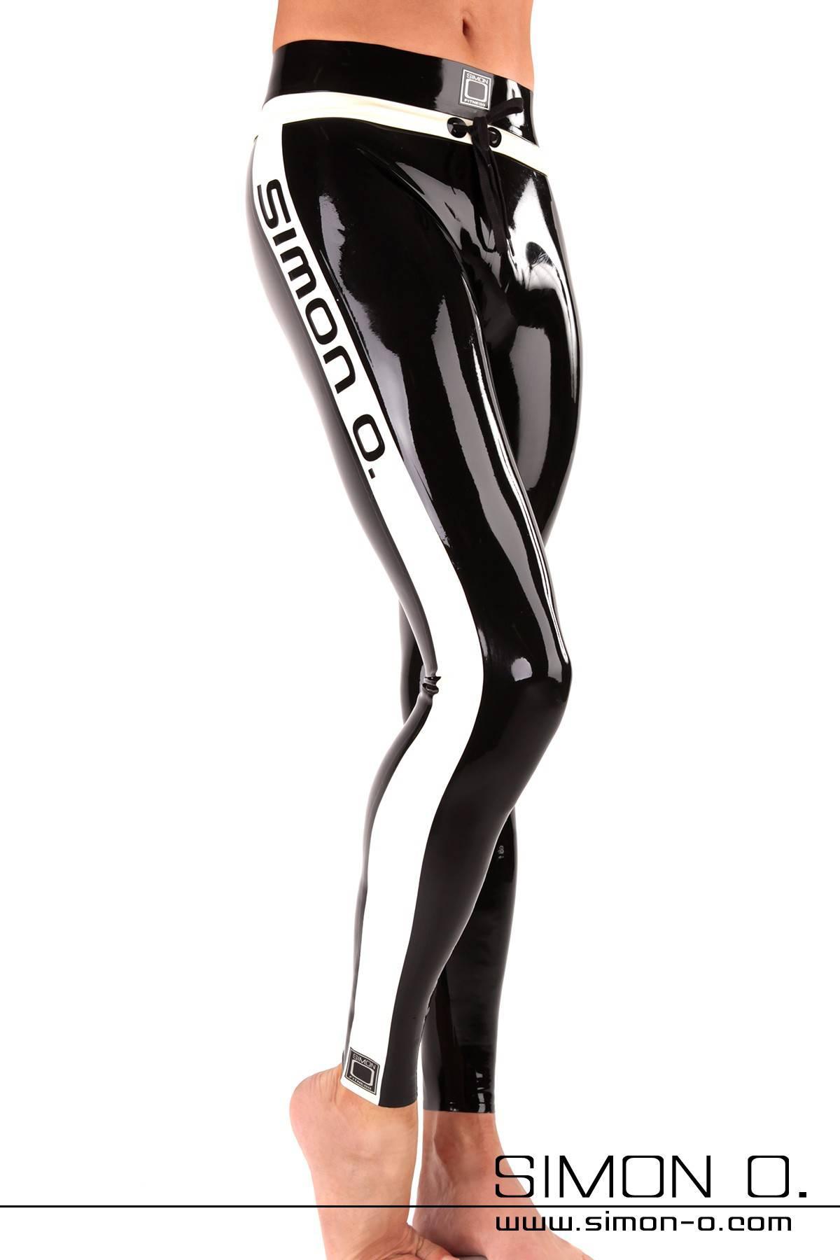 Fitness Latex Leggings für Herren in Schwarz mit weißen Applikationen von vorne gesehen