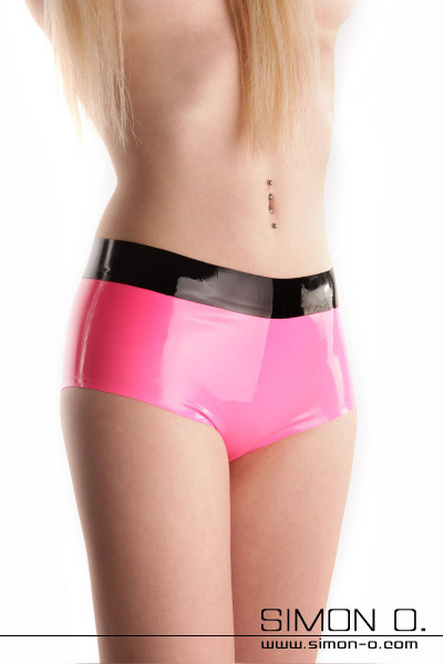 Skin tight shiny latex hot pant in pink with black waistband seen from the front