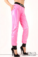 Preview: Shiny latex training pants in pink with black waistband and leg cuffs