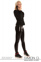 Preview: Black shiny latex jeans in combination with a blazer
