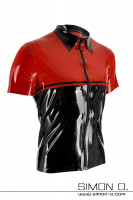 Preview: Latex shirt with lapel collar in the color black with red and divisible black zipper in front