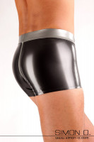 Preview: Butt in tight shiny latex shorts - silver with metallic dark grey