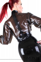 Preview: Latex blouse in black transparent with stand-up collar and dividable zipper seen from behind.