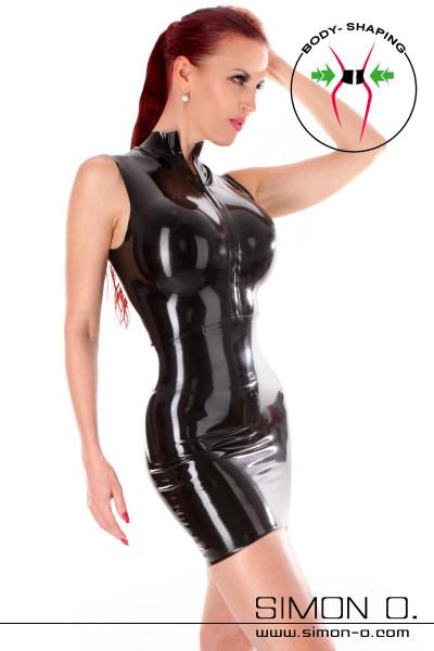 Schwarzes Latex Minikleid mit Zipp vorne und eingearbeiteten Taillengürtel