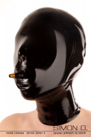 Preview: A women wears a tight shiny Blindfold slave latex hood with gag in black