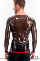 Preview: This eroticly skin tight rubber shirt with round neckline and long sleeves is made from our finest rubber. For inexperienced latex fetishists it might be a …