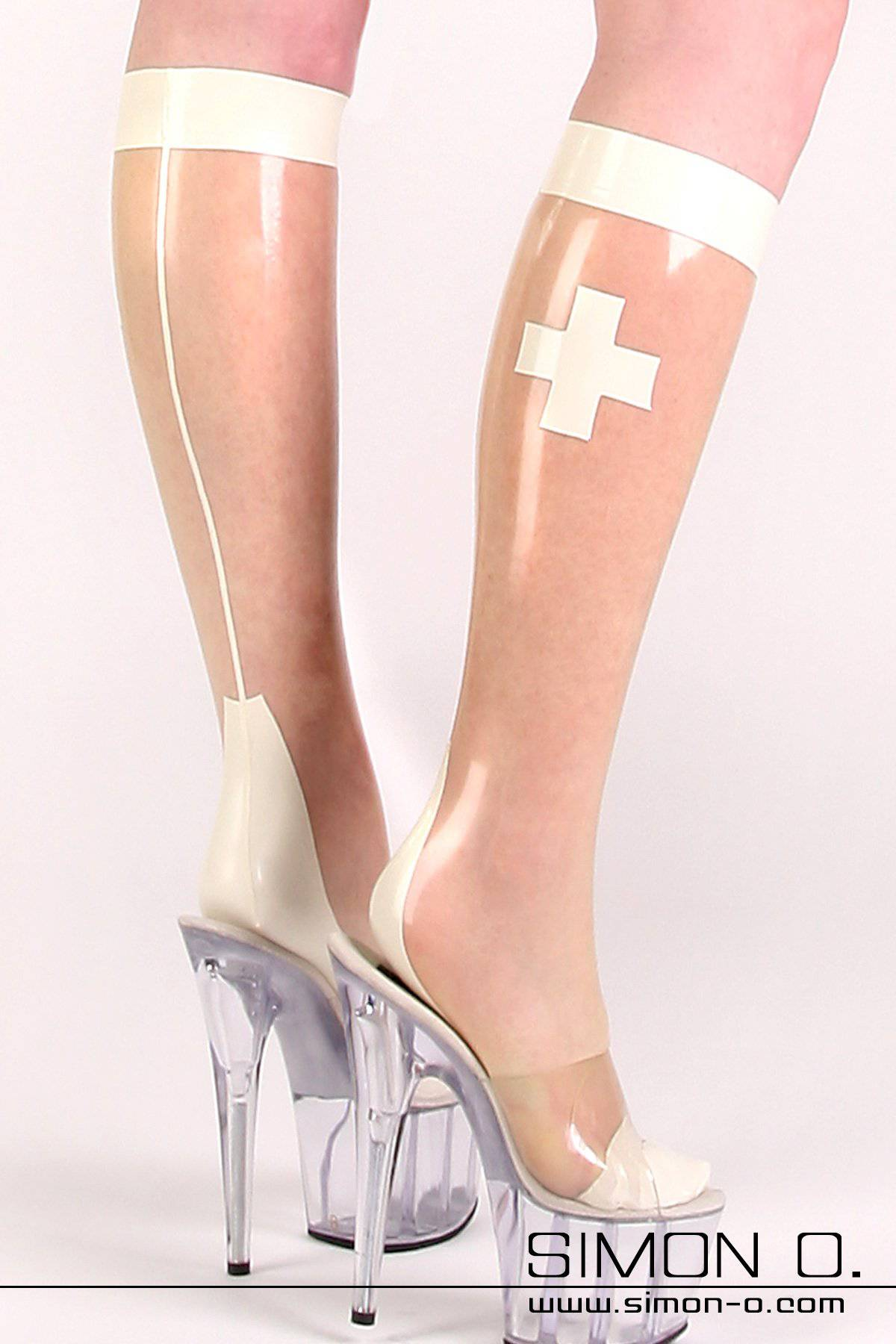 Latex Socks with Nurse Motif – Rubber Clinic Latex socks with cross on the side, Cuban heel, back seam and reinforced top. The foot part with toes and heel is …