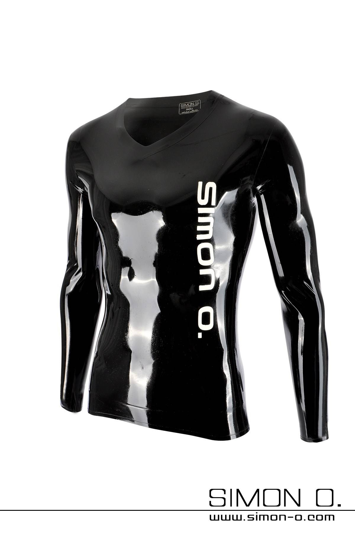 Shiny long sleeve latex shirt in black with white Simon O. Logo on the front side