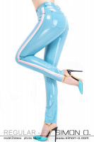 Preview: A skintight shiny latex jeans in light blue with stripes on the side seen from the side