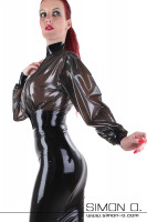 Preview: A woman wears a latex blouse with wide sleeves in black transparent with a black latex skirt